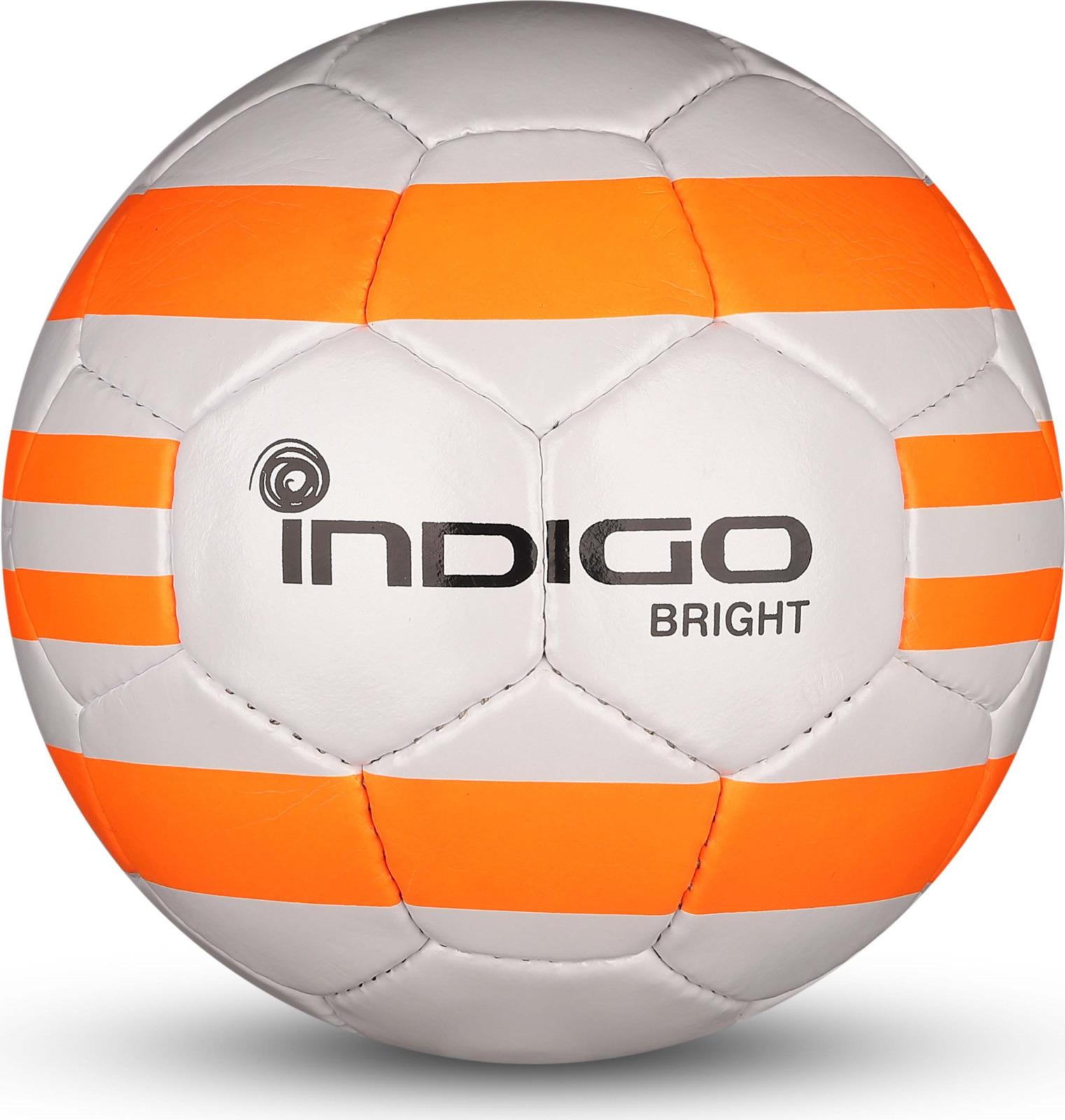Мяч футбольный Indigo Bright, IN024, белый, оранжевый, размер 5 мяч футбольный indigo rain in031 белый синий желтый размер 3