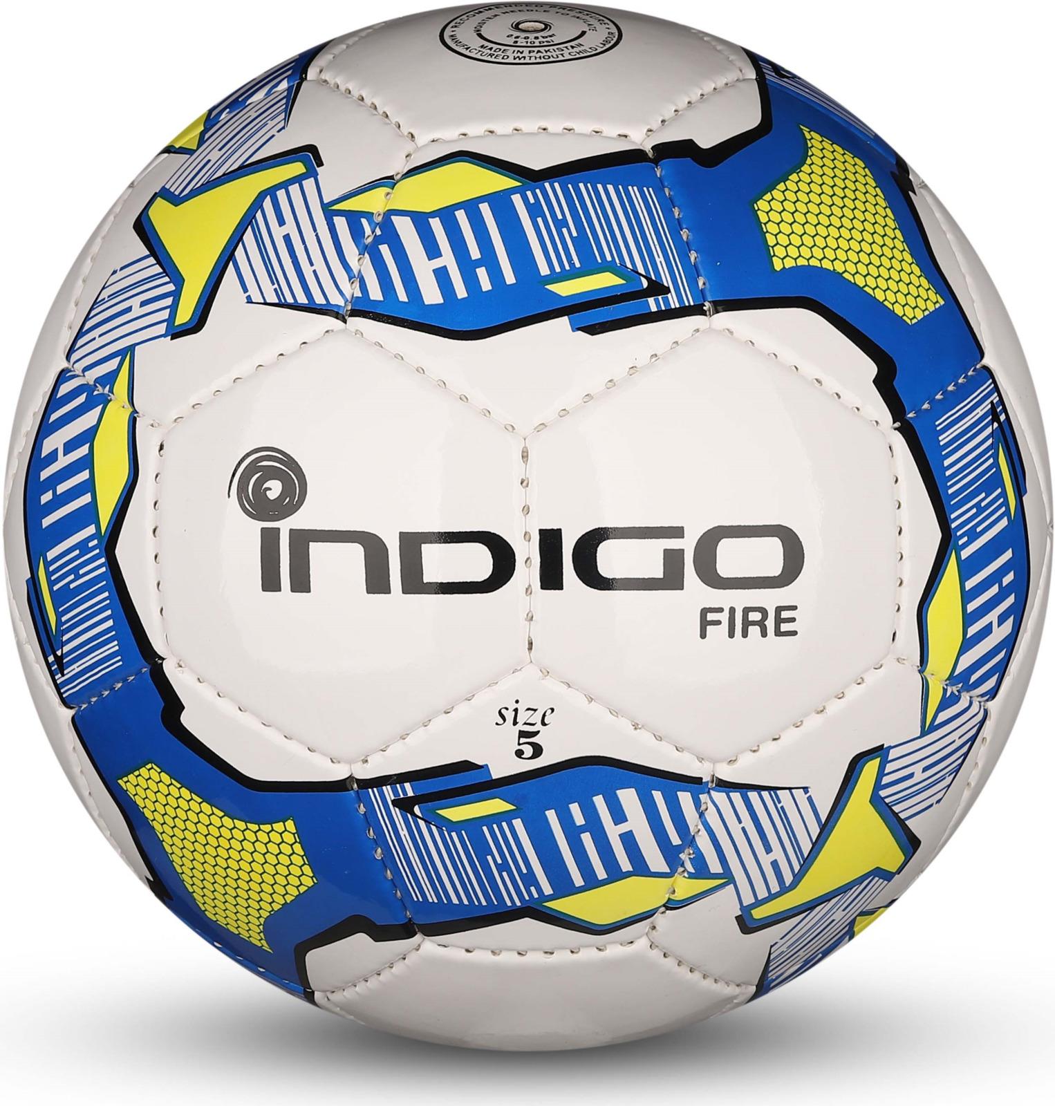 Мяч футбольный Indigo Fire, IN026, белый, синий, желтый, размер 5 мяч футбольный indigo rain in031 белый синий желтый размер 3