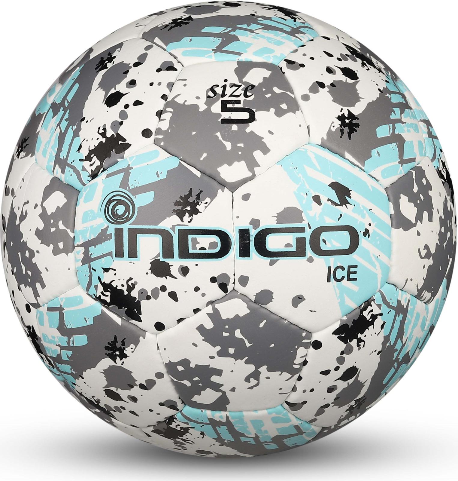 Мяч футбольный Indigo Ice, IN027, белый, голубой, серый, размер 5 мяч футбольный indigo rain in031 белый синий желтый размер 3