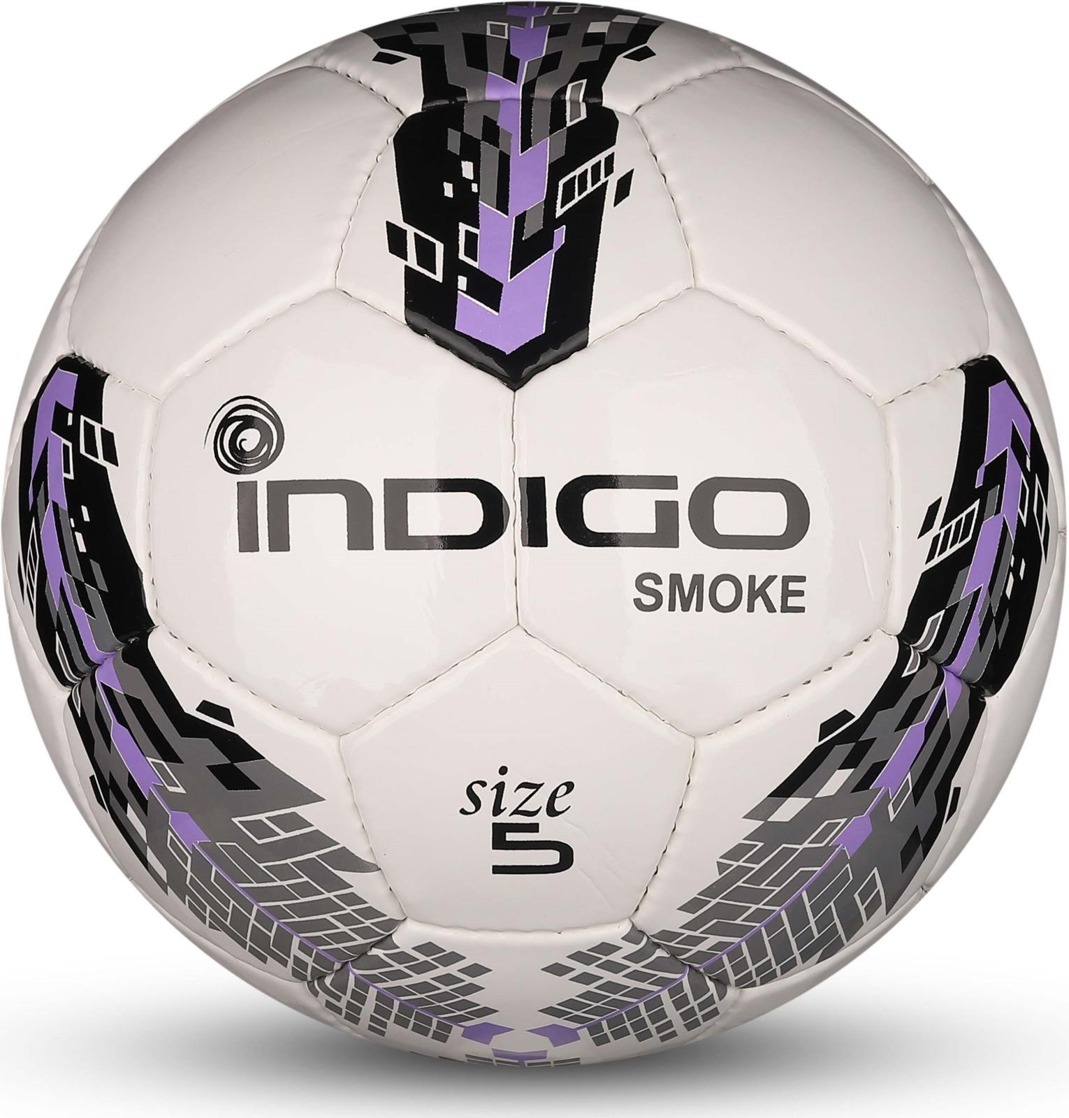 Мяч футбольный Indigo Smoke, IN025, белый, черный, фиолетовый, размер 5 мяч футбольный indigo rain in031 белый синий желтый размер 3