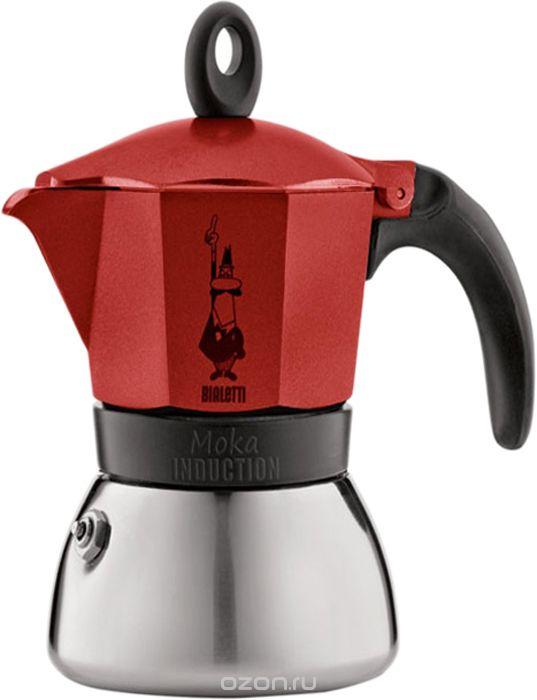 Гейзерная кофеварка Bialetti Moka Induzione, красный кофеварка гейзерная bialetti moka induzione 3 порции сталь 4922