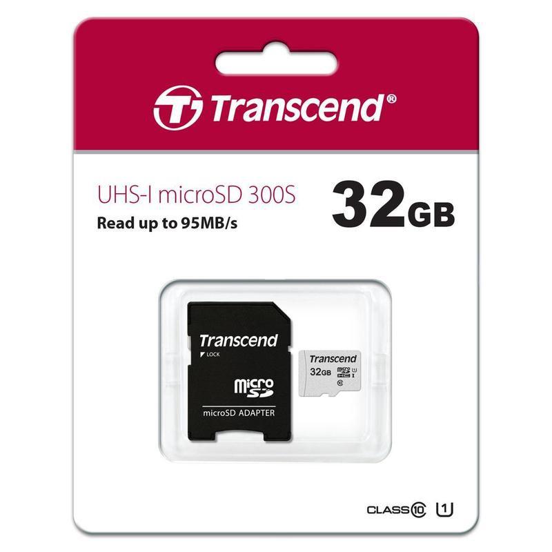 Карта памяти Transcend MicroSD 32GB 300S UHS-I U1 + SD адаптер карта памяти защищена от записи microsd
