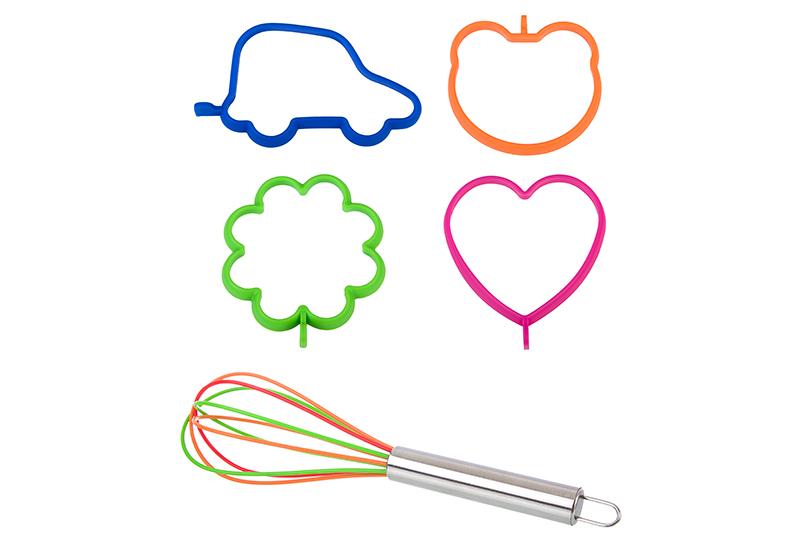 Набор форм для яичницы и оладьев 4 шт. Elan Gallery машина, сердце, медведь, цветок и венчик для взбивания