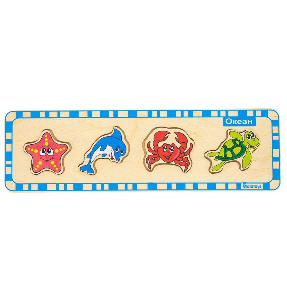"""Игровой набор Alatoys ПЗЛ1010ПЗЛ1010Пазл """"Океан"""". Малыш с детства учится сопоставлять фигурку контуру в основании игрушки. Также ребёнок знакомится с обитателями подводного мира. Развивает внимание, логику,усидчивость."""