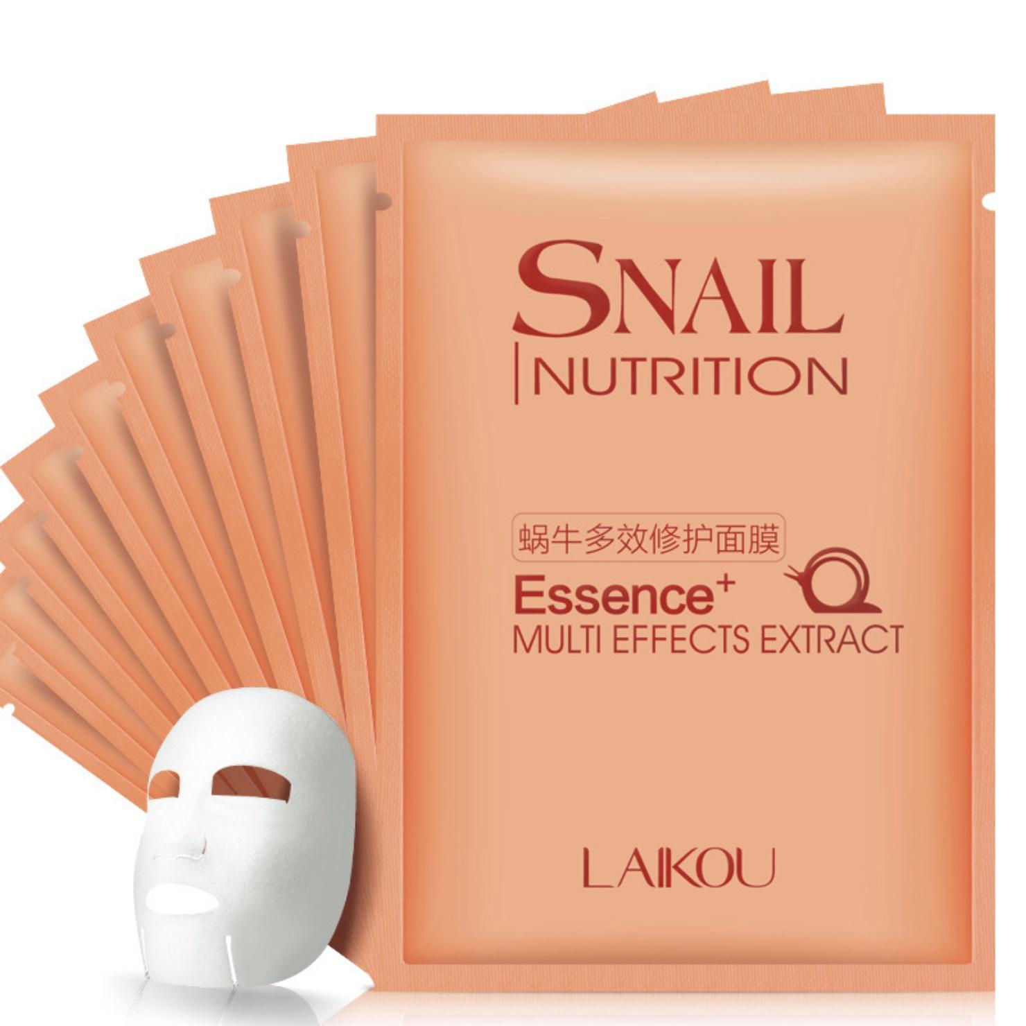 Маска косметическая Laikou набор масок для лица с муцином улитки с антивозрастным эффектом, 10 штук, 30