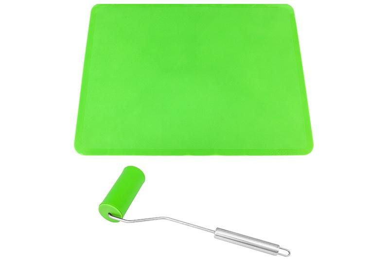"""Набор 2 предметов Elan Gallery - коврик 40x30 см + мини - скалка 21x1x4,3 см """"Зеленый"""""""