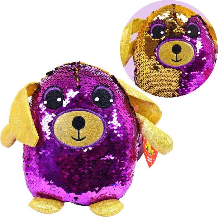 Мягкая игрушка ABtoys Собака с пайетками 19 см, MP001