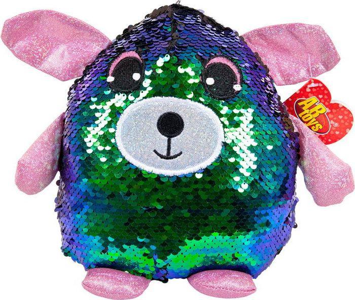 Мягкая игрушка ABtoys Собака с пайетками 21 см, MP008