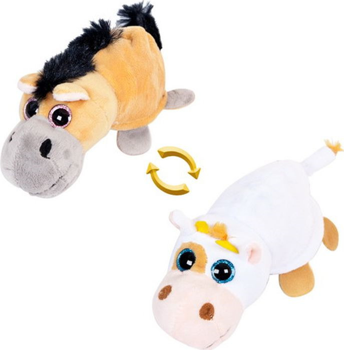 Мягкая игрушка ABtoys Перевертыши Лошадка Корова 15 см, M5010