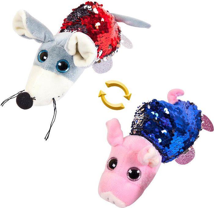 Мягкая игрушка ABtoys Перевертыши Свинка Мышка 8 см, M5024 мягкая игрушка abtoys свинка пушистая 16 см 19758