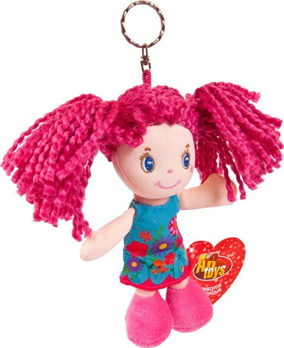 Кукла ABtoys с розовыми волосами в голубом платье на брелке, M6008 brilliance fair кукла волшебная мелодия в голубом платье