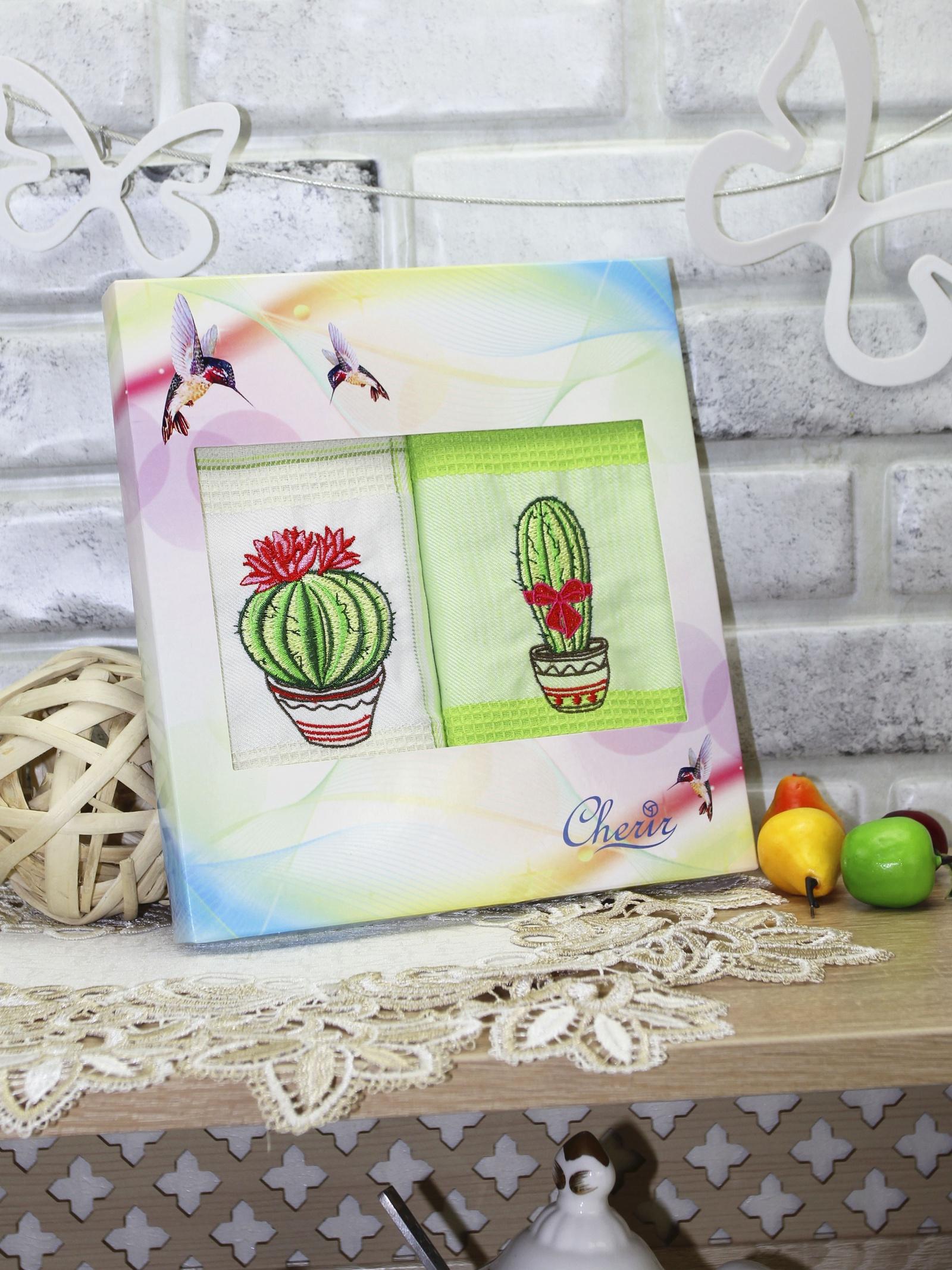Набор кухонных полотенец cherir Праздничное настроение, зеленый набор кухонных полотенец cherir груша 45 70 см 2 предмета