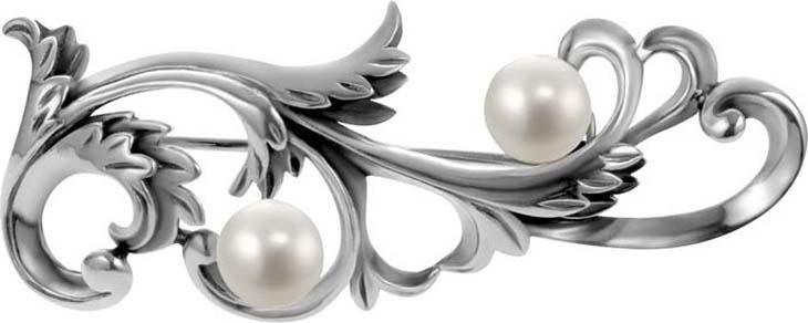Брошь Самородок Брошь Волна, серебро 925, 7-1484-410СереброБрошь из черненого серебра