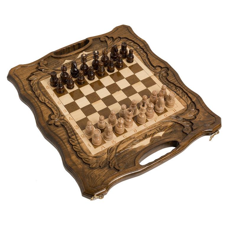 Набор настольных игр Haleyan Шахматы + нарды резные c Араратом 40 с ручкой набор настольных игр haleyan стол ломберный шахматы