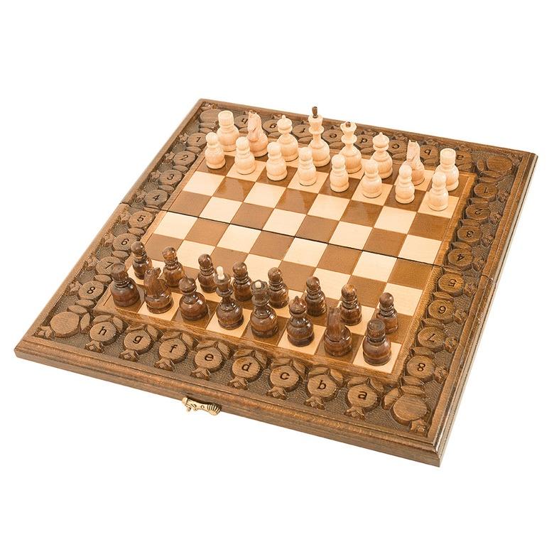 Набор настольных игр Haleyan Шахматы + нарды резные с гранатами 40 набор настольных игр haleyan стол ломберный шахматы