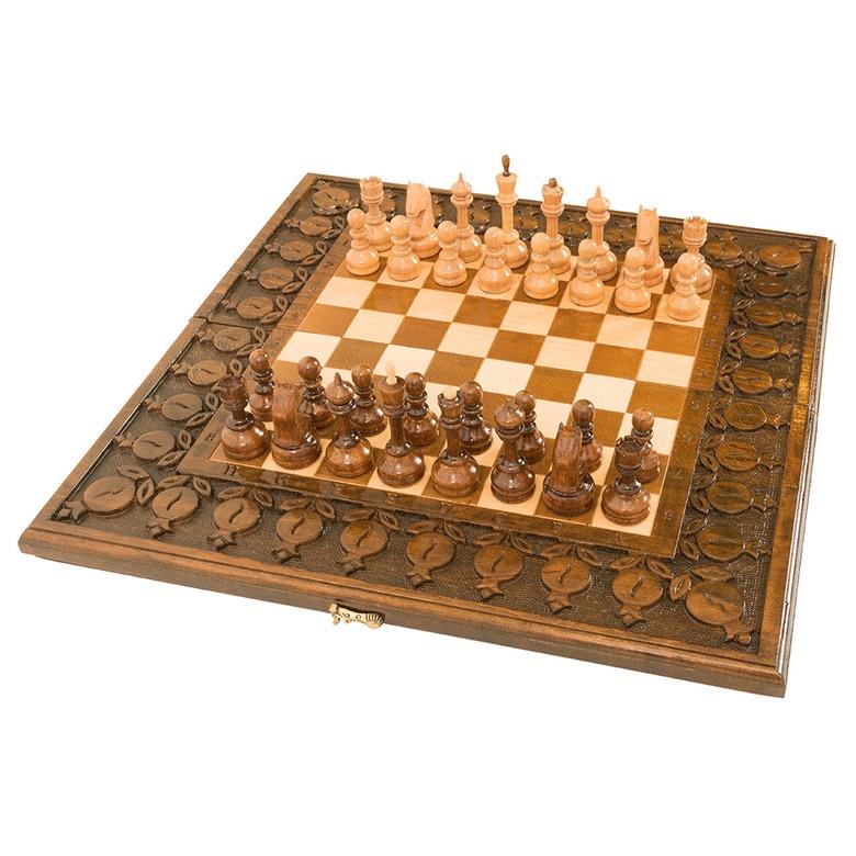Набор настольных игр Haleyan Шахматы + нарды резные с гранатами 50 набор настольных игр haleyan стол ломберный шахматы