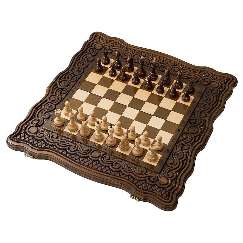 Набор настольных игр Haleyan Шахматы + нарды резные Бриз 50 набор настольных игр haleyan стол ломберный шахматы