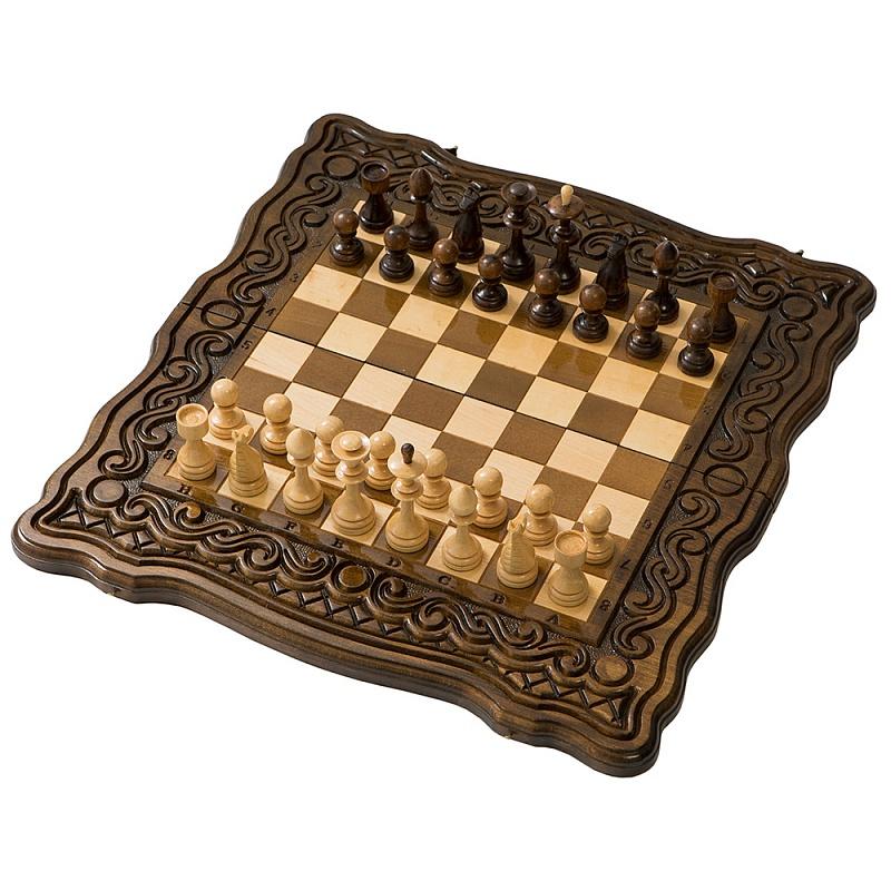Набор настольных игр Haleyan Шахматы + нарды резные Бриз 60 набор настольных игр haleyan стол ломберный шахматы