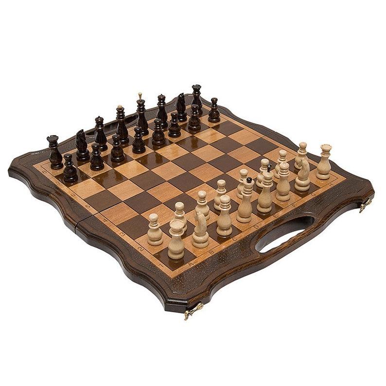 Набор настольных игр Haleyan Шахматы + нарды резные 50 с ручкой