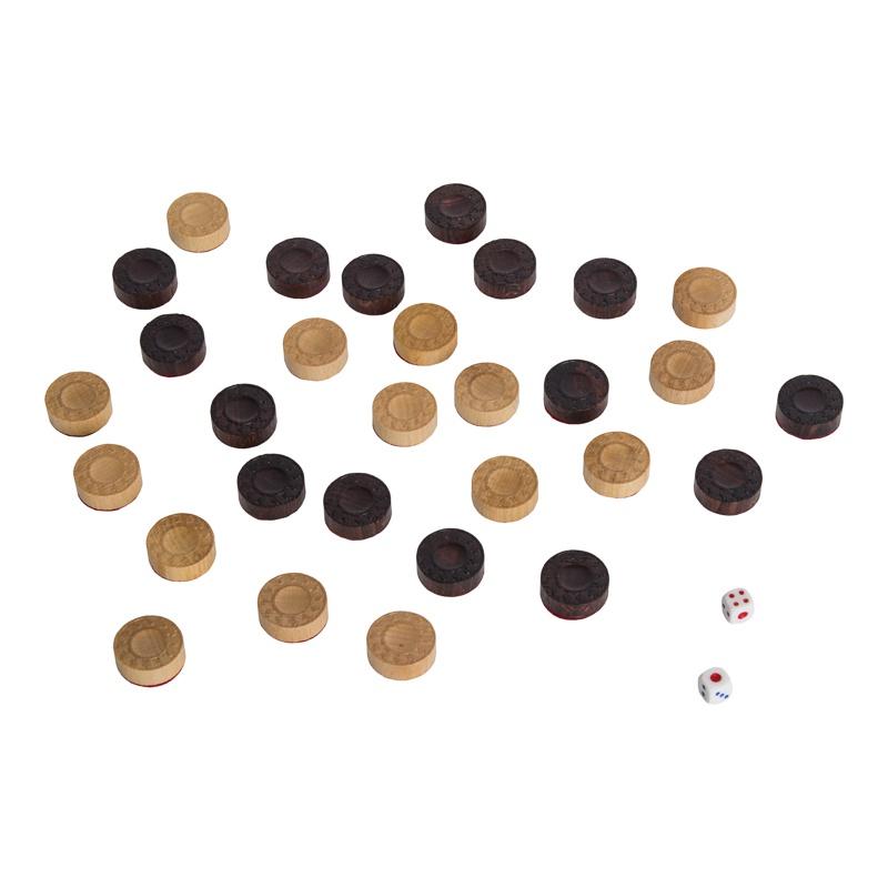 Нарды РФН кожаные «Золото» большие (Россия, дерево, 60х25х5 см) РФН