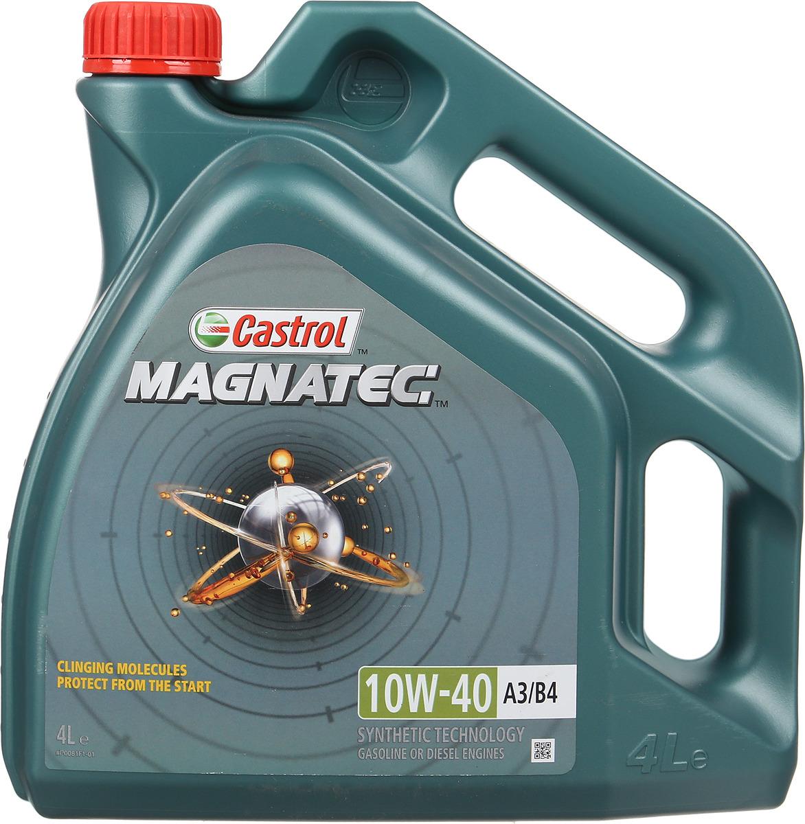 """Масло моторное Castrol """"Magnatec"""", полусинтетическое, класс вязкости 10W-40, A3/B4, 4 л"""