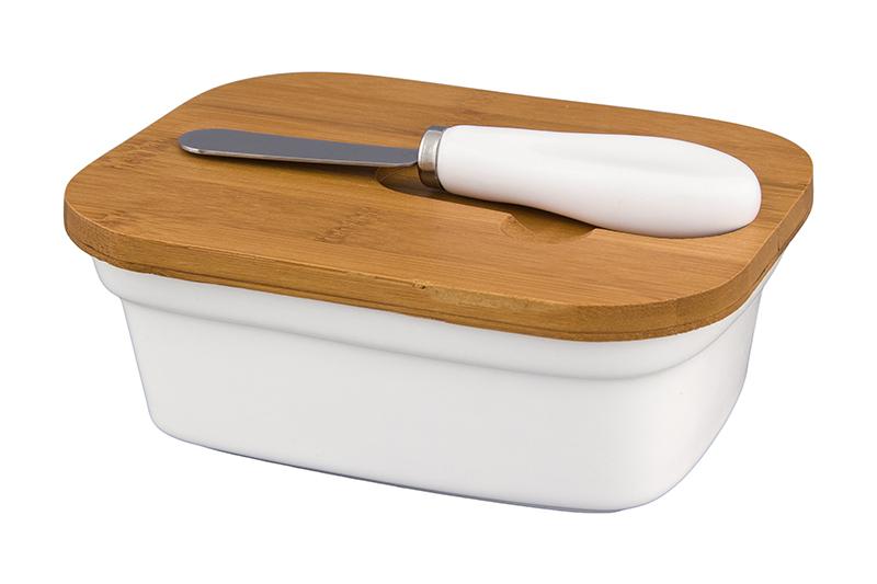 """Паштетница """"Айсберг"""" 14,8*11,2*5,5 см. 390 мл. с деревянной крышкой и ножом с фарфоровой ручкой"""