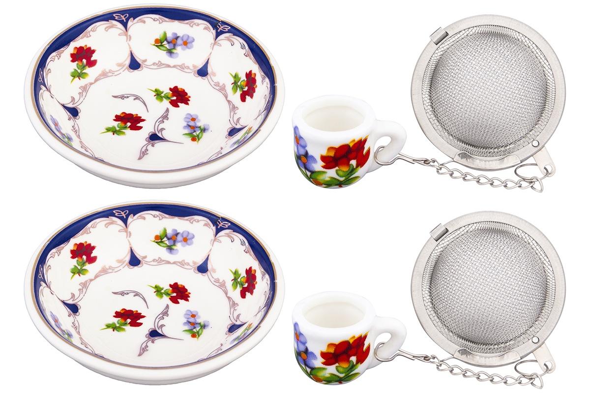Ситечко для заварки Elan Gallery Цветочек, белый, синий, красный ситечко для заваривания чая elan gallery лимон 18 5 5 2 см