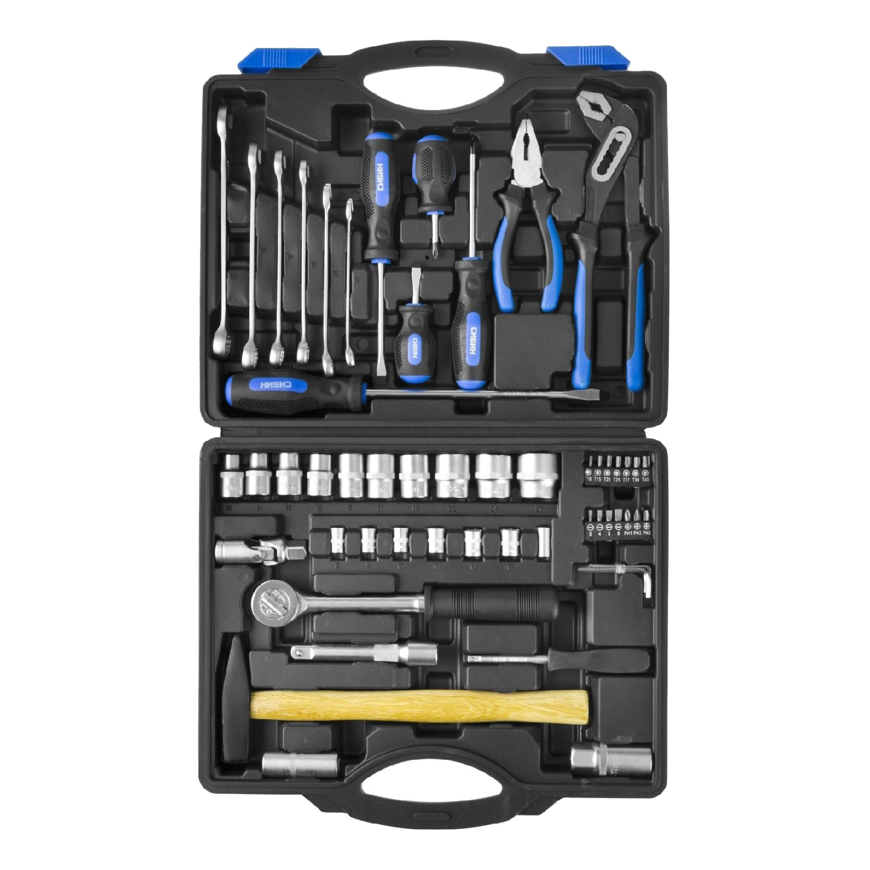 Набор инструментов Сибин 27765-H56 56 предметов отвертка softfinish под ключ торцевая головка sw1 4 x125 wiha 02837