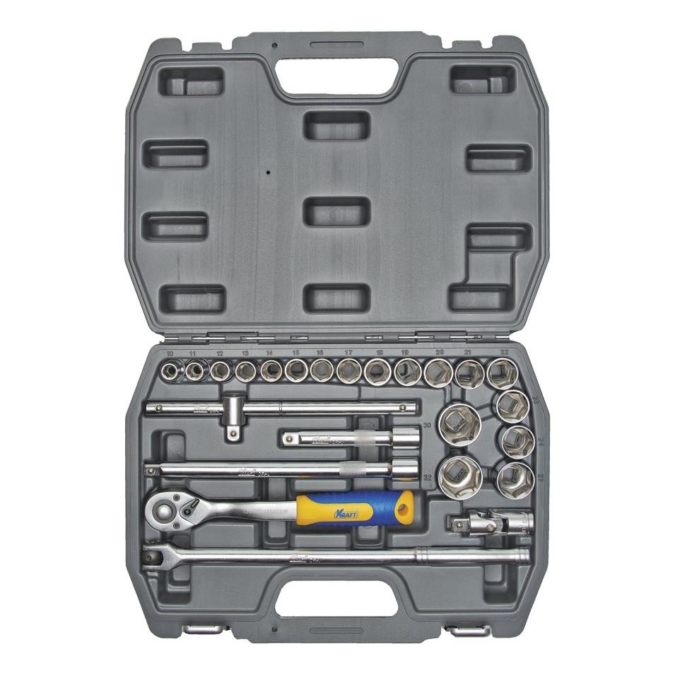 Набор инструментов KRAFT КТ 700301 (25 предметов) головка торцевая berger bg 12sd27 удл 1 2 6 гранная 27мм superlock