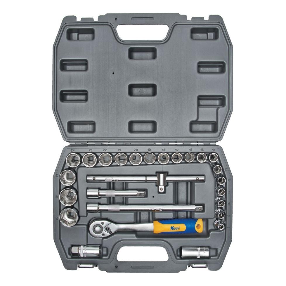 Набор инструментов KRAFT КТ 700302 (26 предметов) головка торцевая berger bg 12sd27 удл 1 2 6 гранная 27мм superlock