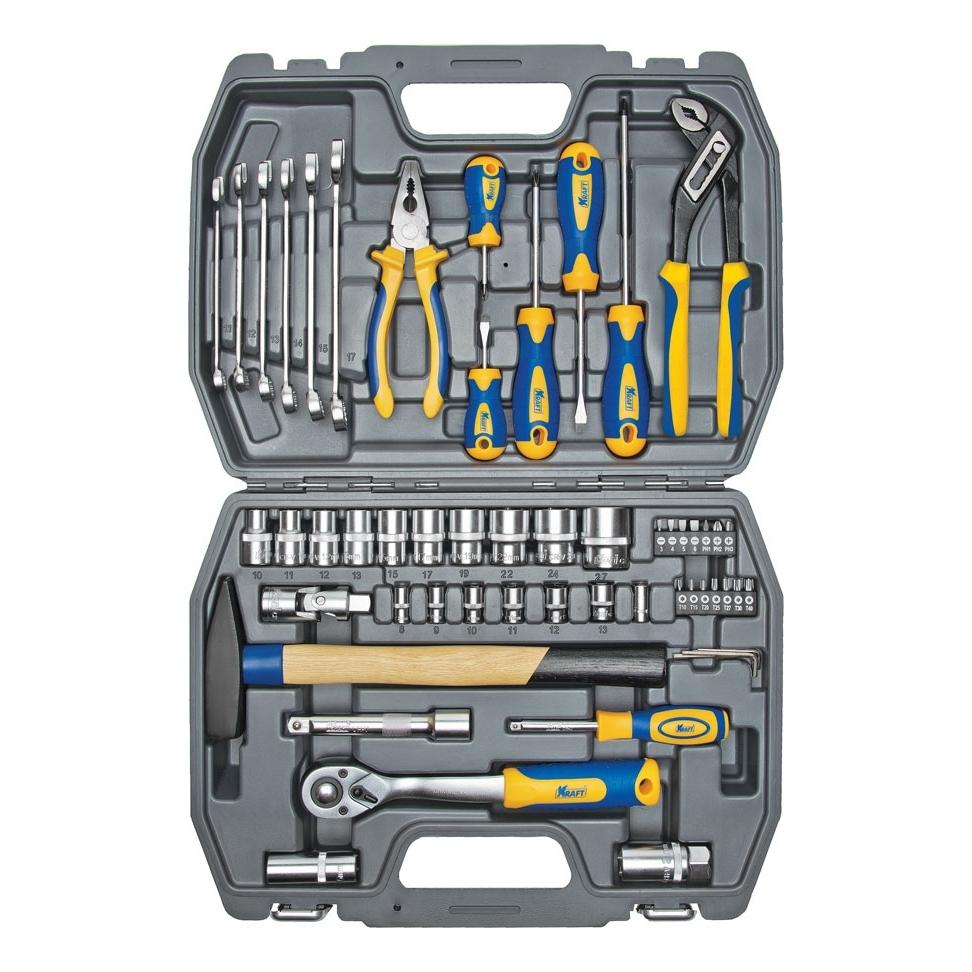 Набор инструментов KRAFT КТ 700303 (56 предметов) набор инструментов kraft кт 700303 1 2dr и 1 4dr 56пр