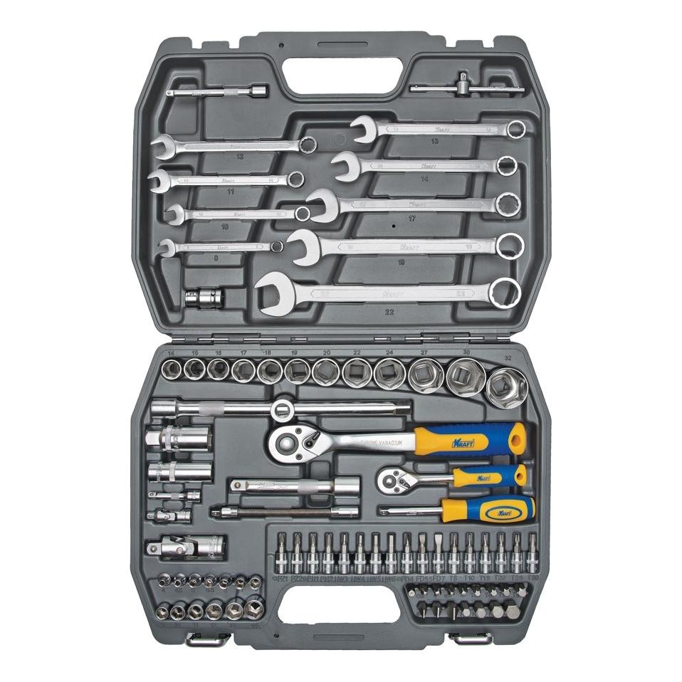 Набор инструментов KRAFT КТ 700305 (82 предмета) набор инструментов kraft professional универсальный 1 2 1 4 82 предмета
