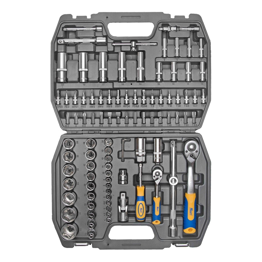 Набор инструментов KRAFT КТ 700306 (94 предмета) набор инструментов kraft professional универсальный 1 2 1 4 82 предмета