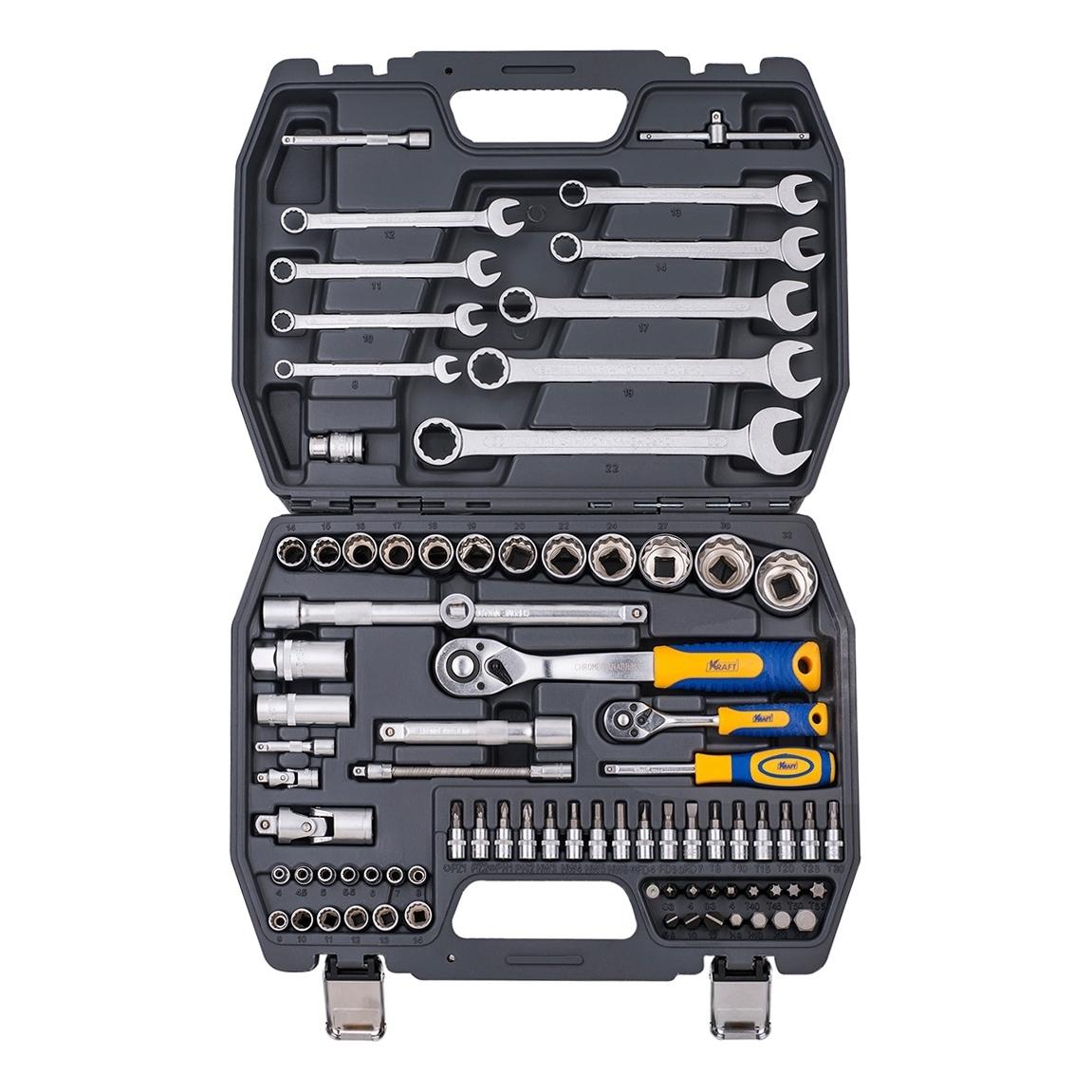 Набор инструментов KRAFT КТ 700681 (82 предмета) торцевая головка bosch 10 мм 1 2 1 шт 1 608 552 012