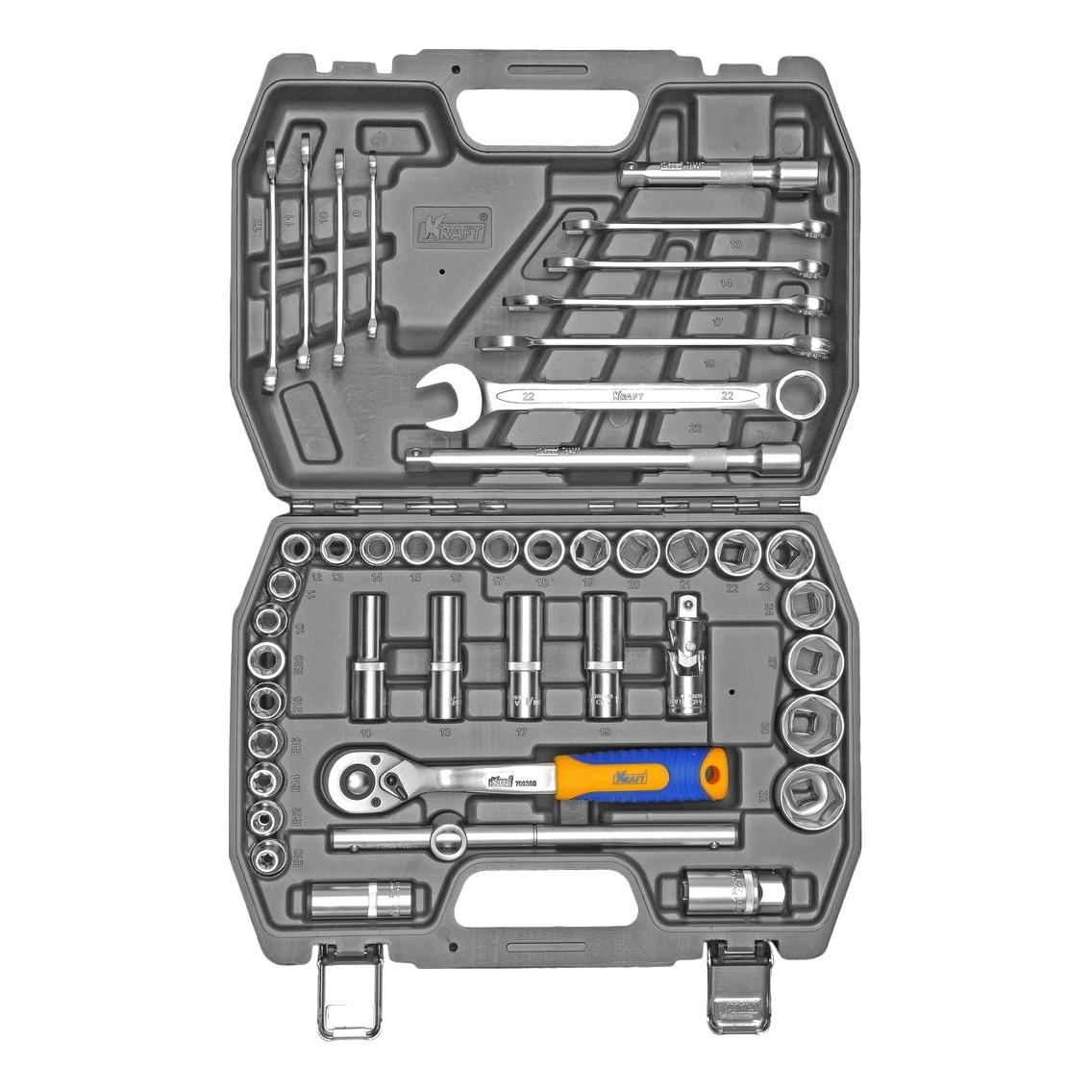 Набор инструментов KRAFT КТ 700683 (44 предмета) торцевая головка bosch 10 мм 1 2 1 шт 1 608 552 012