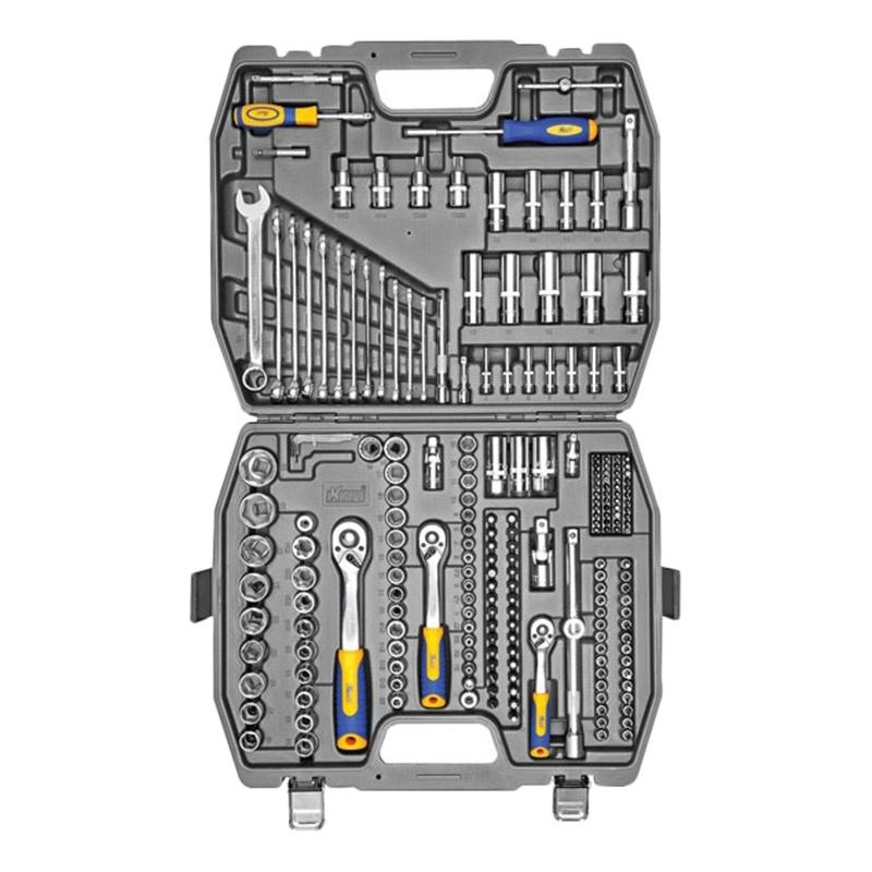 Набор инструментов KRAFT КТ 700684 (218 предметов) 1800lm 3 mode white light led flashlight w strap golden 2 x 18650 4 x 18650
