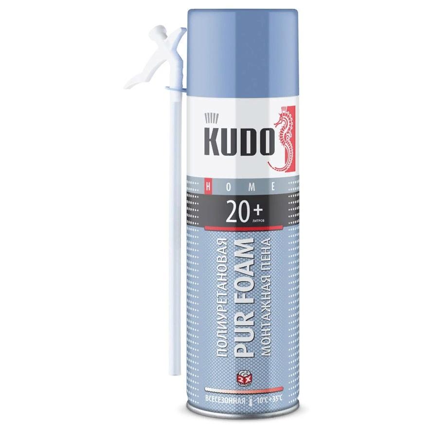 Пена полиуретановая монтажная KUDO PUR FOAM 20 бытовая всесезонная выход до 20 л  650 мл