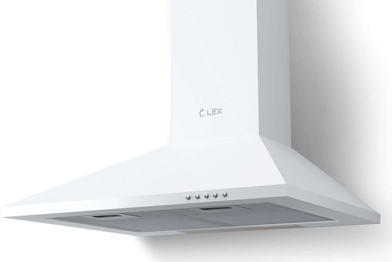Вытяжка каминная Lex Basic 600, белый вытяжка каминная lex plaza 600 черный управление сенсорное 1 мотор [chat000050]