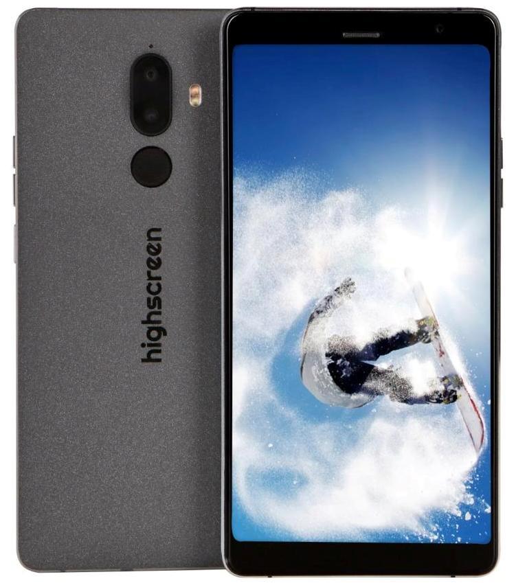 Смартфон Highscreen Power Five Max-2 4/64 GB, черный ориг чехол flip case для highscreen power five белый