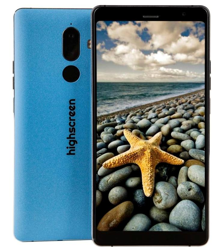Смартфон Highscreen Power Five Max 2 4/64, голубой ориг чехол flip case для highscreen power five белый