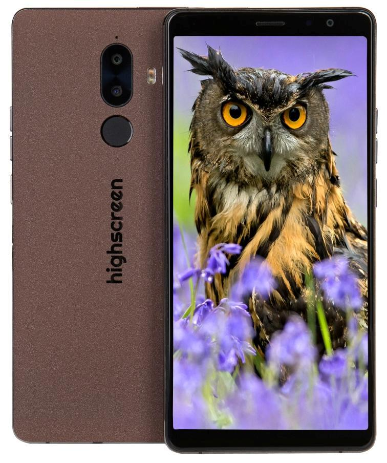 Смартфон Highscreen Power Five Max-2 3/32GB, коричневый ориг чехол flip case для highscreen power five белый