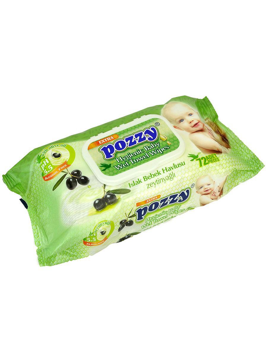 цена на POZZY 8690239031368 Детские влажные салфетки- оливковое масло с крыш. 72 шт.