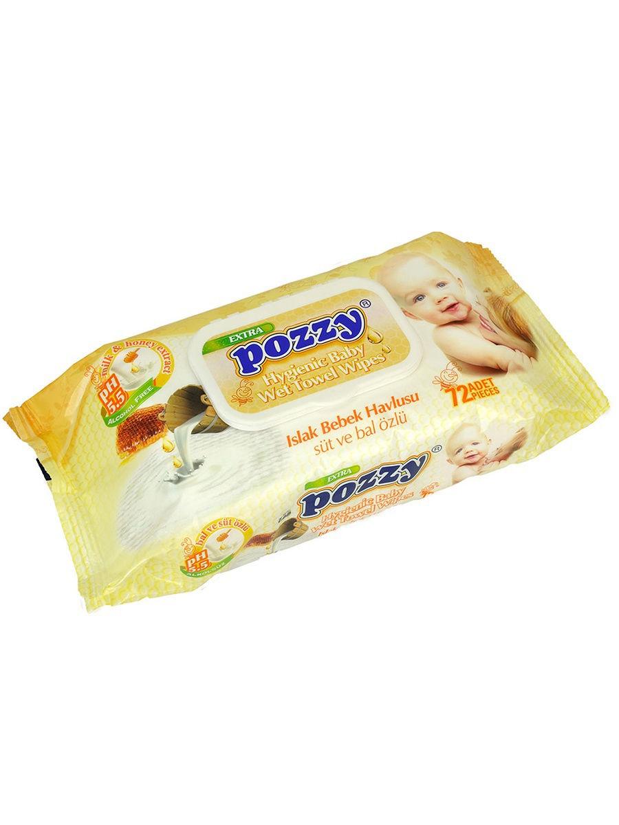 цена на POZZY 8690239031375 Детские влажные салфетки мед/молоко с крыш. 72 шт.