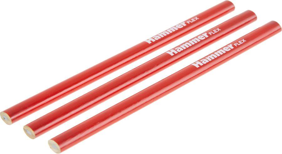 Карандаш строительный Hammer Flex, 601-047, красный, 3 шт