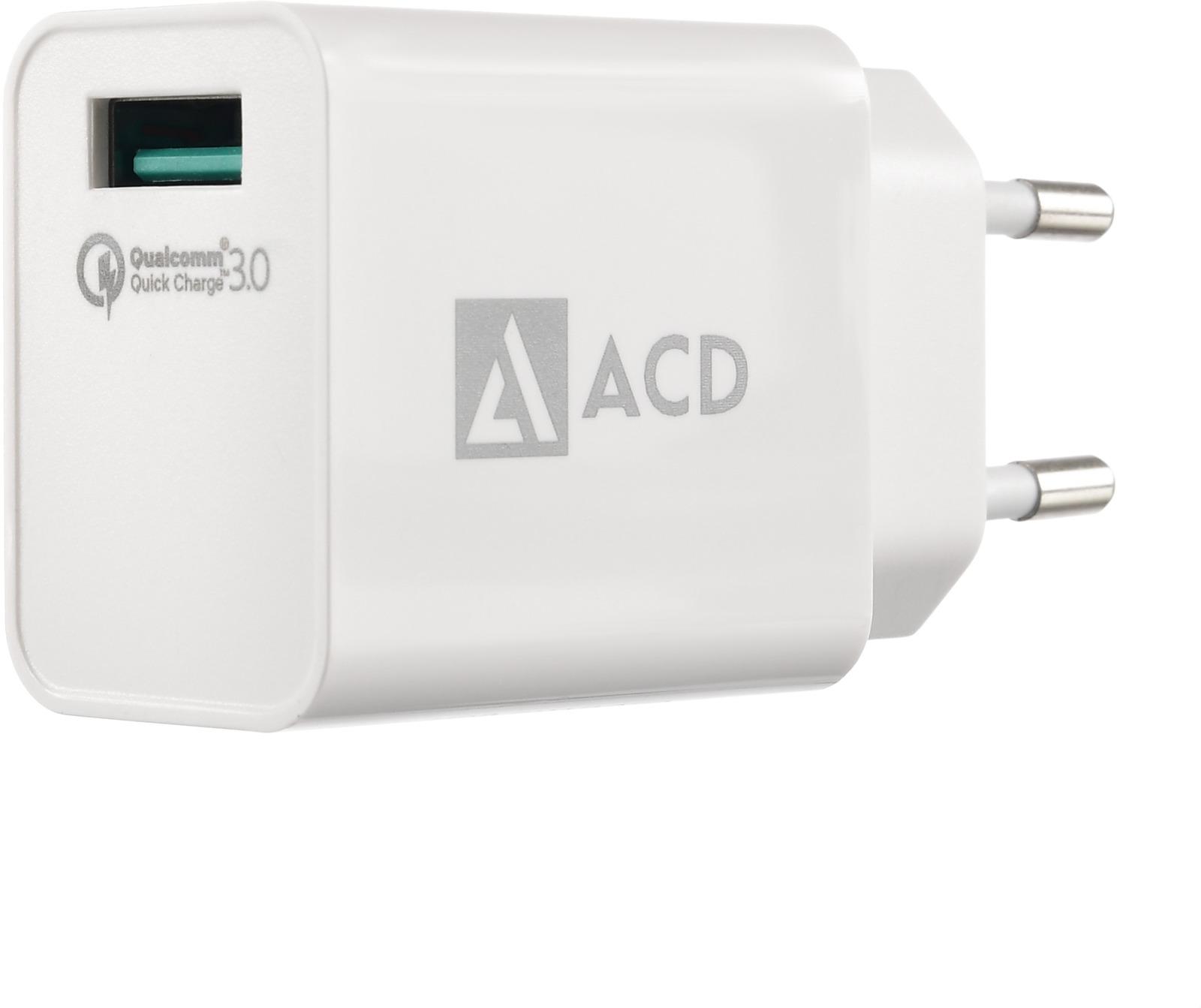 Сетевое зарядное устройство ACD, 18Вт, ACD-Q181-X3W аксессуар acd link usb c usb a 1m white acd u910 c2w