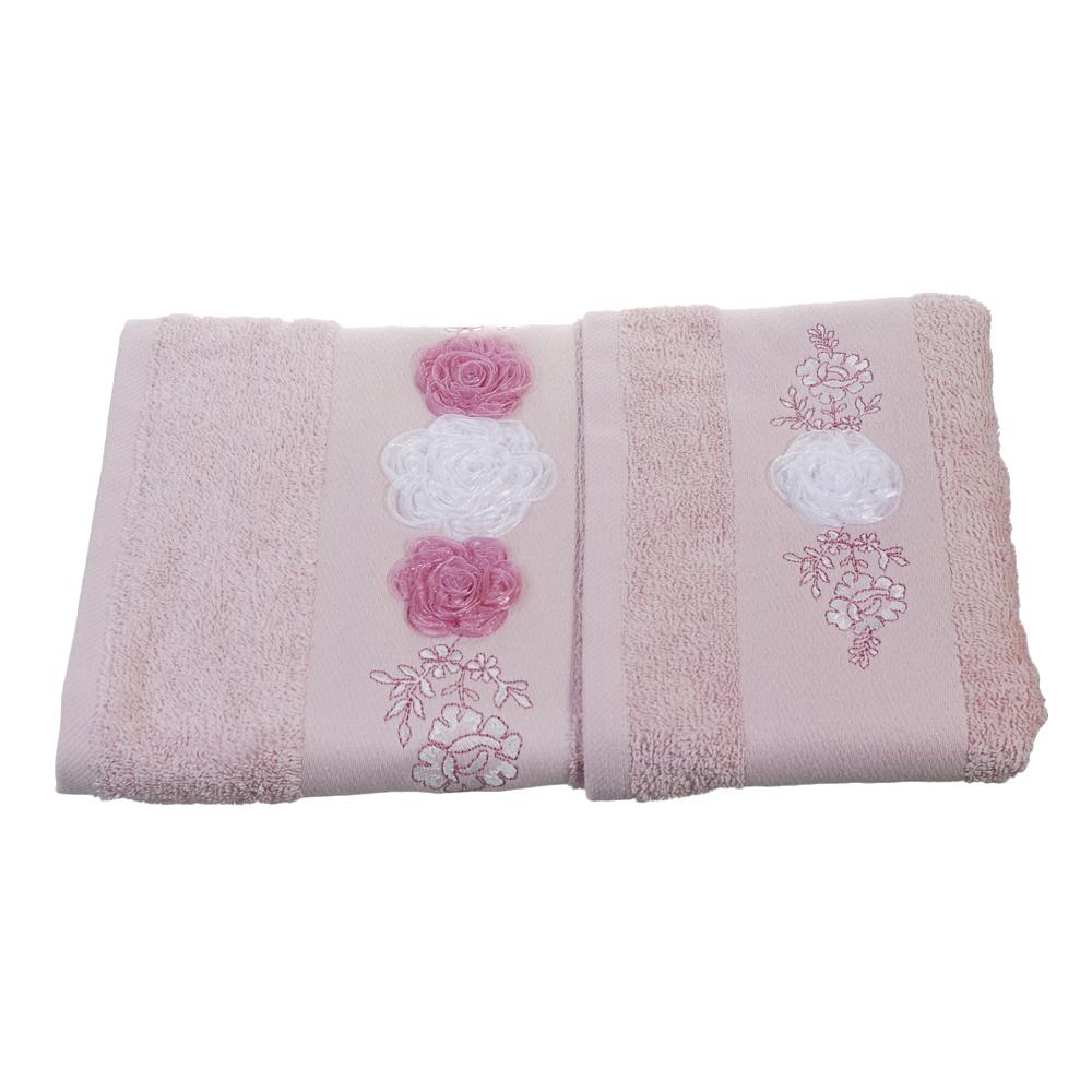 Набор банных полотенец Pierre Cardin Central flower, светло-розовый