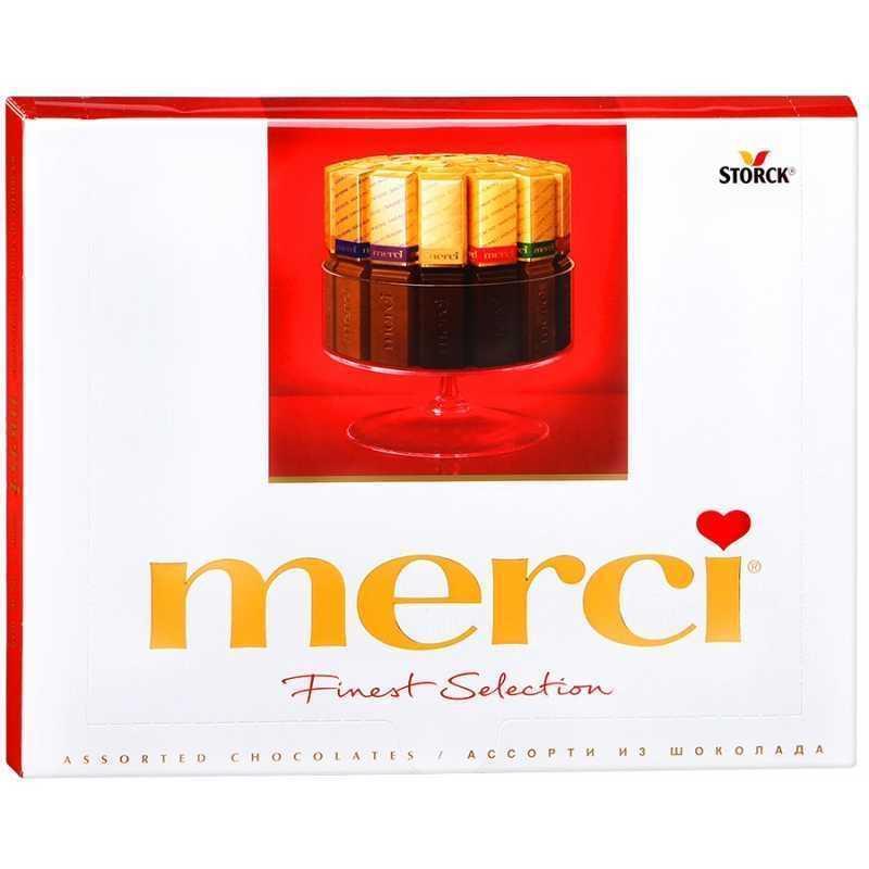 Шоколадный набор Merci Ассорти 8 видов шоколада, 250г merci набор конфет ассорти из шоколада с миндалем 250 г