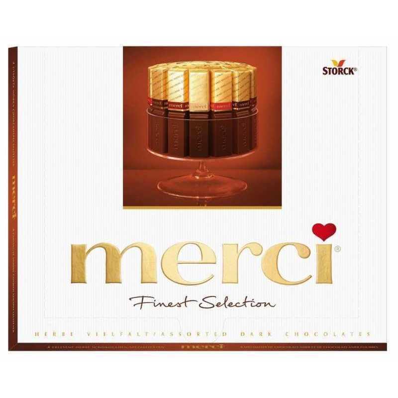 Шоколадный набор Merci ассорти темного шоколада, 250г merci набор конфет ассорти из шоколада с миндалем 250 г