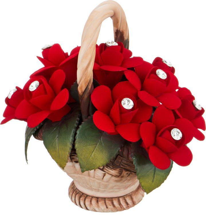 Искусственные цветы Lefard Корзинка с розами, 303-117, 15 х 10 х 14 см изделие декоративное корзинка d 16см h 29см упаковочный пакет