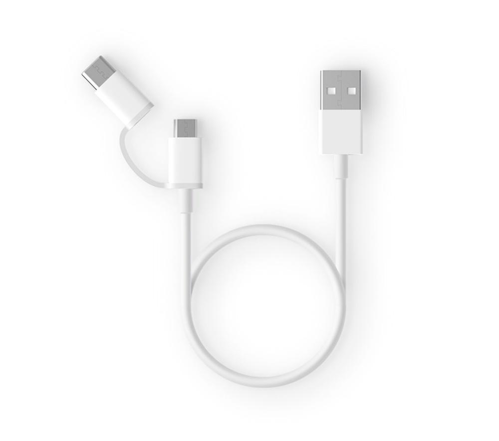 Кабель ZMI Xiaomi AL511 White 2in1 USB Type-C/Micro 30см, белый
